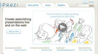 Prezi home page